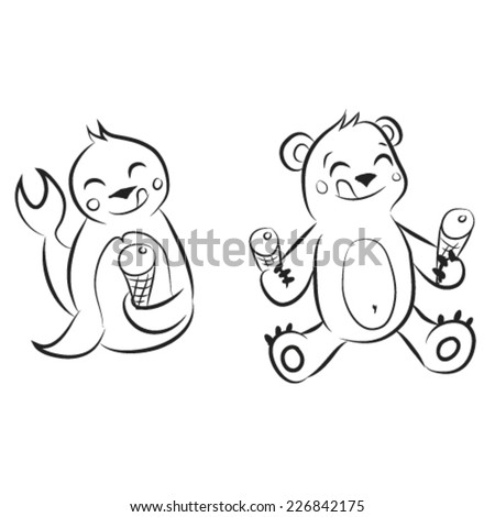 Black and white cartoon teddy bear and seal with ice cream. Sketch.