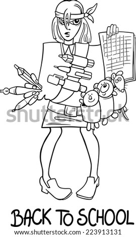 Black and White Cartoon Vector Humorous Illustration of Teenage Girl Student Coming Back to School for Coloring Book