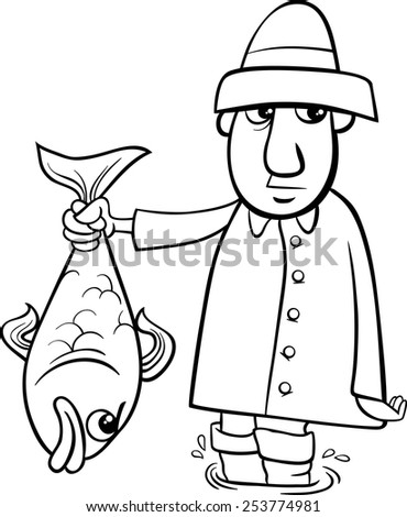 Black And White Cartoon Vector Illustration Of Angler Or Fisherman With Big Fish For Coloring Book