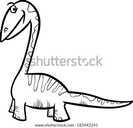 Black and White Cartoon Vector Illustration of Apatosaurus Prehistoric Dinosaur for Coloring Book - stock vector