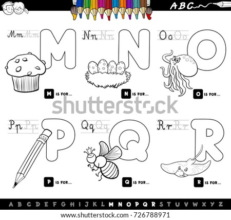 Black And White Cartoon Vector Illustration Of Capital Letters Alphabet Educational Set For Reading Writing
