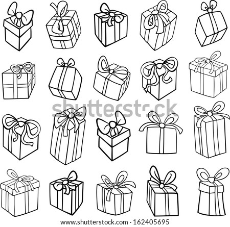 Black and White Cartoon Vector Illustration of Christmas or Birthday Presents or Gifts Objects Clip Art Set for Coloring Book - stock vector