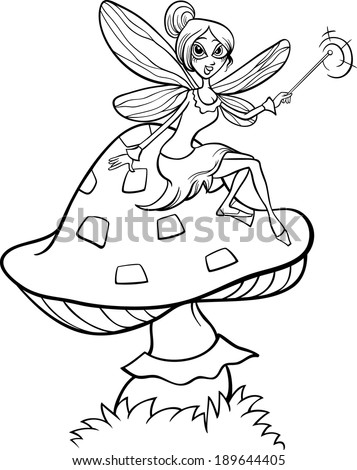 Black and White Cartoon Vector Illustration of Cute Elf Fairy Fantasy Character on Toadstool Mushroom for Coloring Book - stock vector
