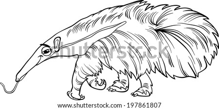 Black White Cartoon Vector Illustration Cute Stock Vector