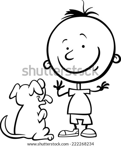 Black And White Cartoon Vector Illustration Of Cute Little Boy With Dog Or Puppy For Coloring