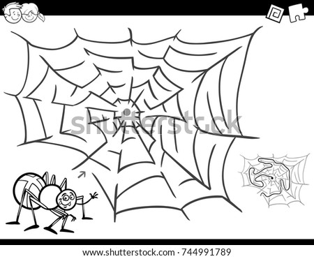 black and white cartoon vector illustration of education maze or labyrinth activity game for children with - Spider Coloring Book