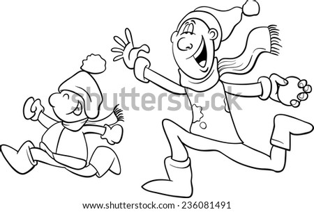 Black and White Cartoon Vector Illustration of Father and Little Son Throwing Snowballs and Having Fun on Winter Time for Coloring Book - stock vector
