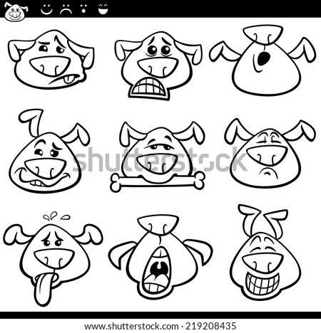 Black and White Cartoon Vector Illustration of Funny Dogs Expressing Emotions or Emoticons Set Coloring Book - stock vector