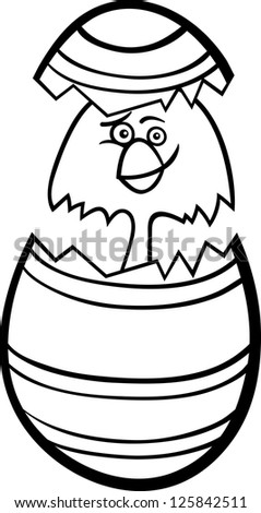 Black and White Cartoon Vector Illustration of Funny Little Chicken or Chick in Colorful Eggshell of Easter Egg for Coloring Book