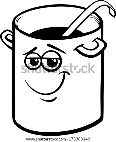 black and white cartoon vector illustration of funny pot or pan with ladle for coloring book. Black Bedroom Furniture Sets. Home Design Ideas
