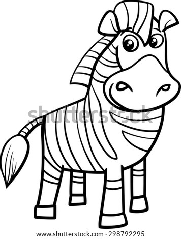 Black And White Cartoon Vector Illustration Of Funny Zebra African Animal For Coloring Book