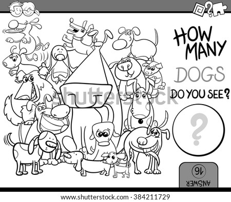 Black and White Cartoon Vector Illustration of Kindergarten Educational Counting Task for Preschool Children with Dog Characters Coloring Book - stock vector