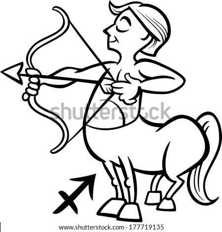 Black and White Cartoon Vector Illustration of Sagittarius or The Archer or Centaur Horoscope Zodiac Sign for Coloring Book - stock vector