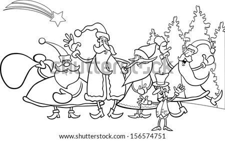 Black and White Cartoon Vector Illustration of Santa Claus Group with Elf Christmas Characters for Coloring Book - stock vector