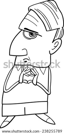 Black and White Cartoon Vector Illustration of Thoughtful Man or Professor Considering Something for Coloring Book - stock vector
