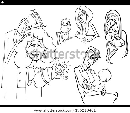 Black and White Cartoon Vector Illustration Set of Parents with Children and Babies for Coloring Book - stock vector