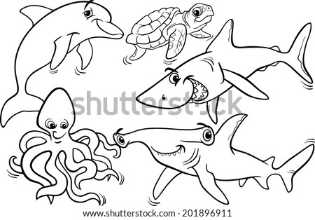 Black and White Cartoon Vector Illustrations of Funny Sea Life Animals and Fish Mascot Characters Group for Coloring Book - stock vector