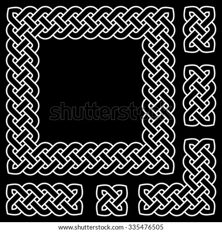 Black and white Celtic knot frame and design elements, vector illustration (white outline isolated on black background) - stock vector