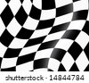 Black and white checked racing flag. Vector illustration. - stock vector