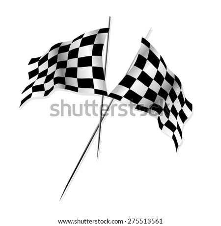 Black and White Checkered Flag: Vector - stock vector