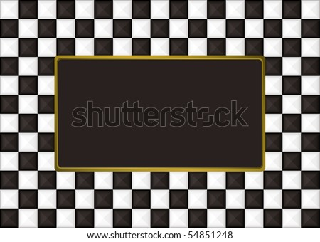 Black and white checkered picture frame with gold trim
