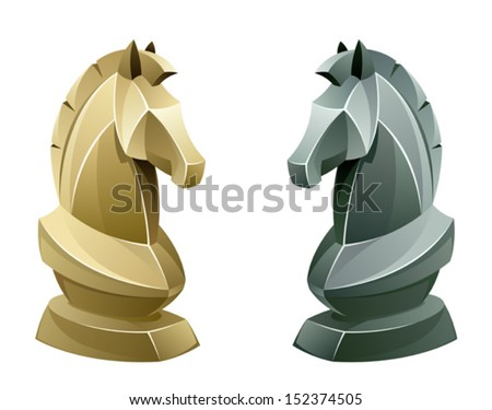 Black and white chess knight - stock vector