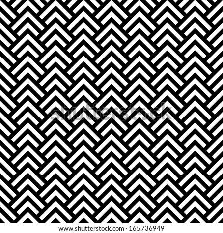 Black and white chevron geometric seamless pattern, vector - stock vector