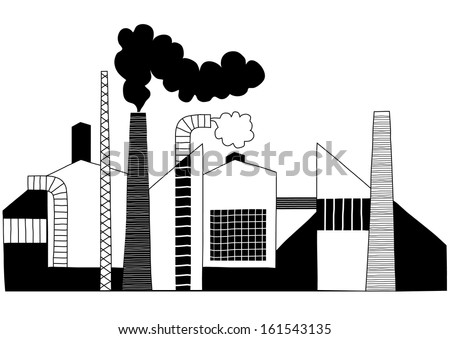 Black and White Chimneys of a Factory Producing Harmful Steam - Vector Illustration - stock vector
