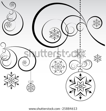 Black and white christmas background. - stock vector