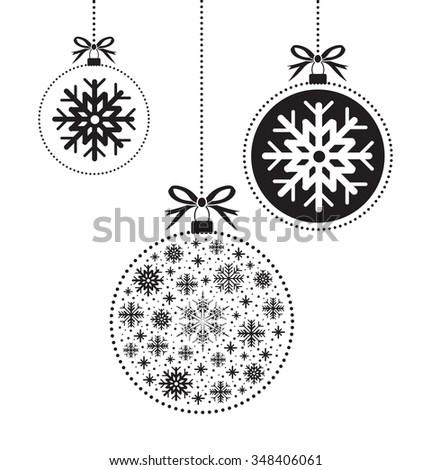 black and white christmas ball balls - stock vector