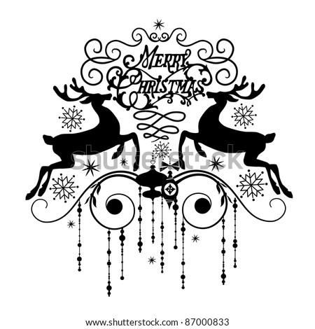Black and White Christmas Card - stock vector