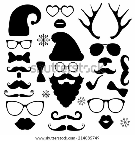 Black and White Christmas silhouette set hipster style, illustration icons - stock vector