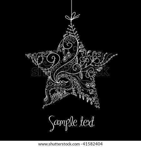 Black and White Christmas Star illustration. - stock vector