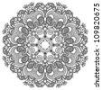black and white circle ornament, ornamental round lace - stock vector