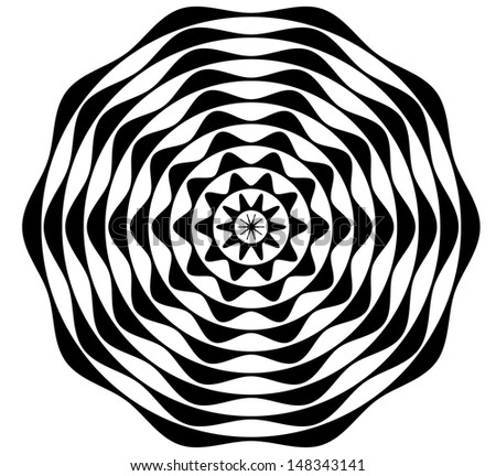 Black and White Circular Style Pattern. Vector - stock vector