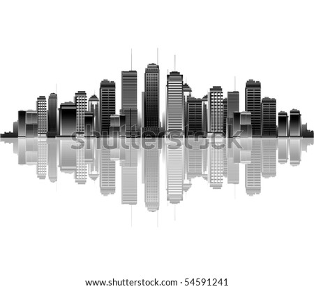 Black and white city reflection - stock vector