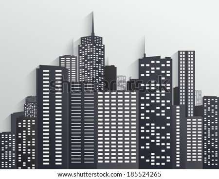 Black and white City Skyline - stock vector