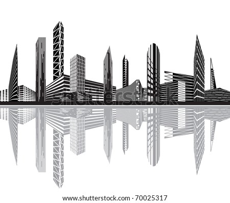 Black and white city - Vector illustration - stock vector