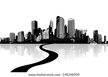 Black and white cityscape with water reflection and road. - stock vector