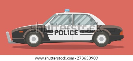 Black and white classic police car vector illustration. Side view, cartoon style. - stock vector