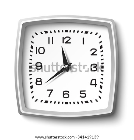Black and white classic station wall clock isolated on white background - stock vector