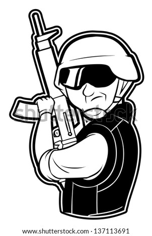 black and white clipart soldier - stock vector