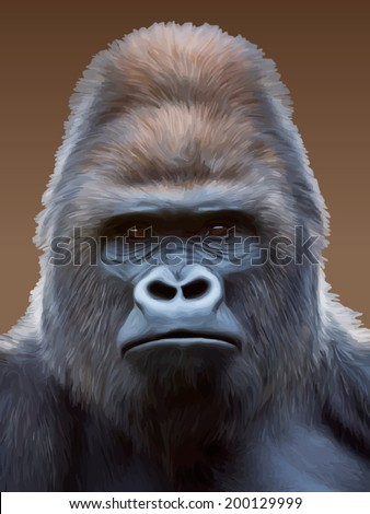 Black and white closeup portrait of a gorilla male, severe silverback. Grave look of the great ape, the most dangerous and biggest monkey of the world. Vector illustration. - stock vector