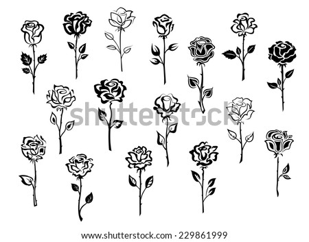 Black and white collection of rose icons in sketch style each one showing a different single long stemmed rose symbolic of love, vector illustration on white - stock vector