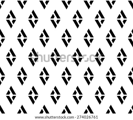 Black and white color minimal lattice rhombus shape seamless pattern background vector. - stock vector