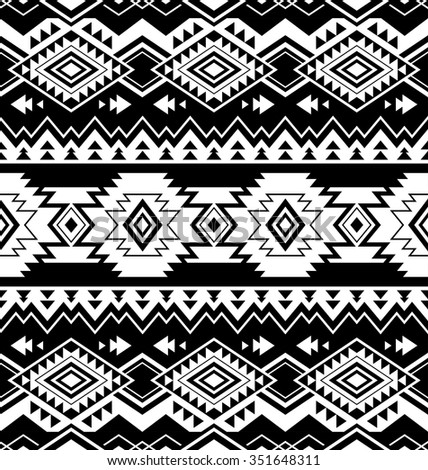 black and white color tribal Navajo seamless pattern. aztec fancy abstract geometric art print. ethnic hipster backdrop. Wallpaper, cloth design, fabric, paper, wrapping, textile design template. - stock vector
