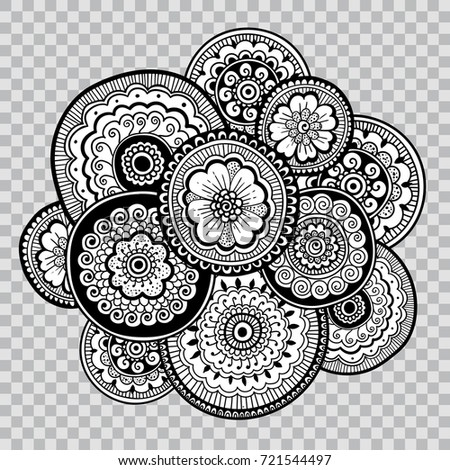 Black and white coloring floral tattoo artwork indian style doudle art floral composition