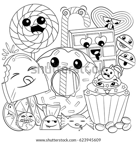 black and white coloring page of cute and sweet doodle candies for children - Coloring Pages Food