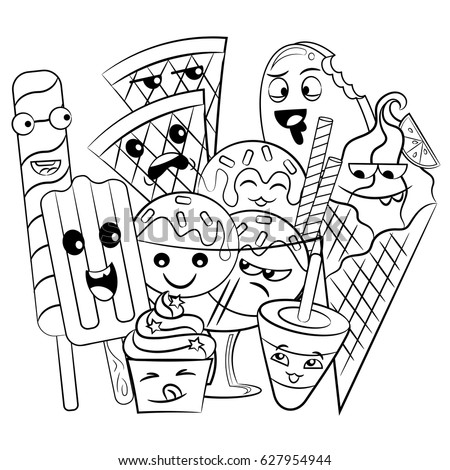 black and white coloring page of cute and sweet doodle ice cream for children - Ice Cream Coloring Page