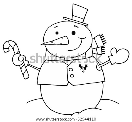 Black And White Coloring Page Outline Of A Snowman Holding A Candy Cane - stock vector